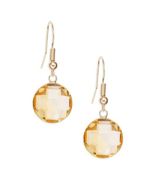 Effy - Metallic Citrine & 14k Yellow Gold Drop Earrings - Lyst