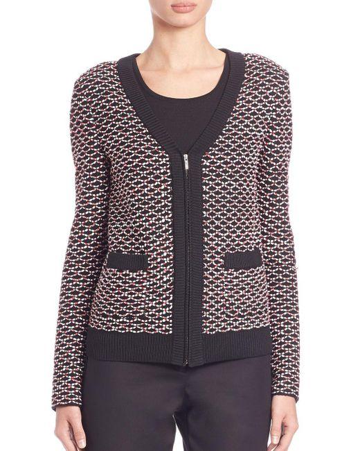 St. John - Multicolor Rib-trimmed Knit Jacket - Lyst