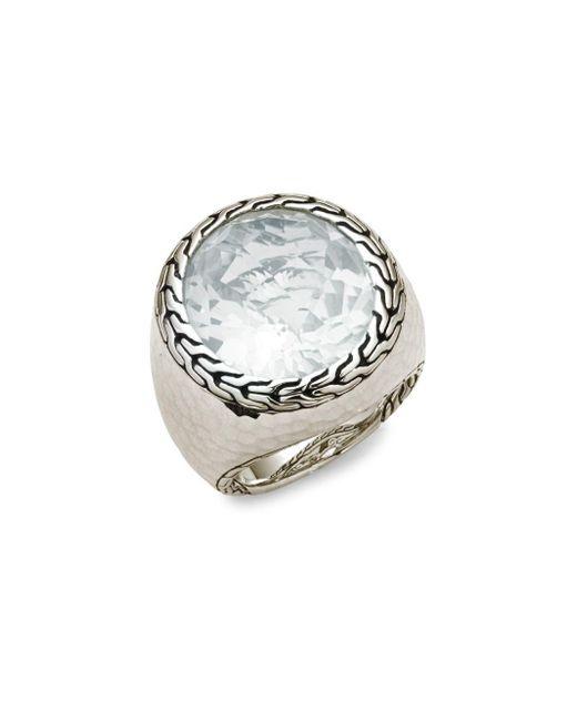 John Hardy   White Women's Batu Sterling Silver Oval Ring   Lyst