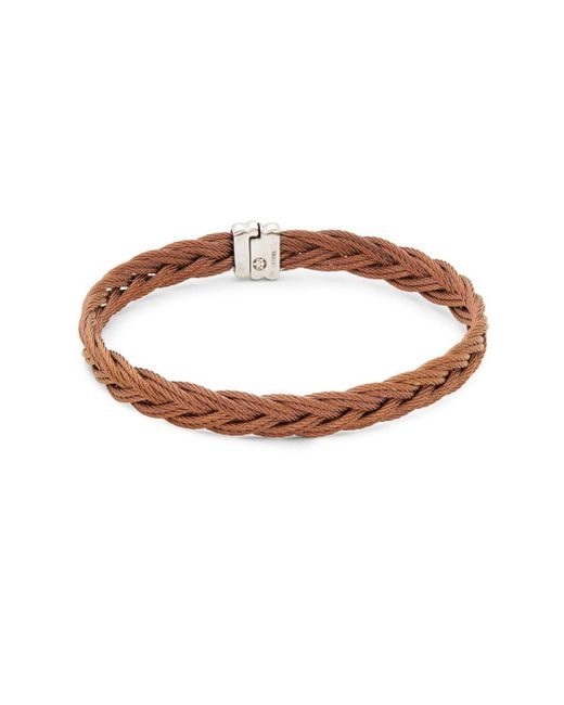 Alor - Brown Stainless Steel Braided Bangle Bracelet - Lyst