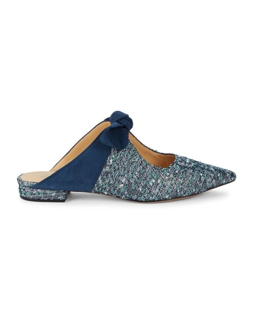 Alexandre Birman Blue Women's Evelyn Bow Textured Mules - Night Sky - Size 38 (8)