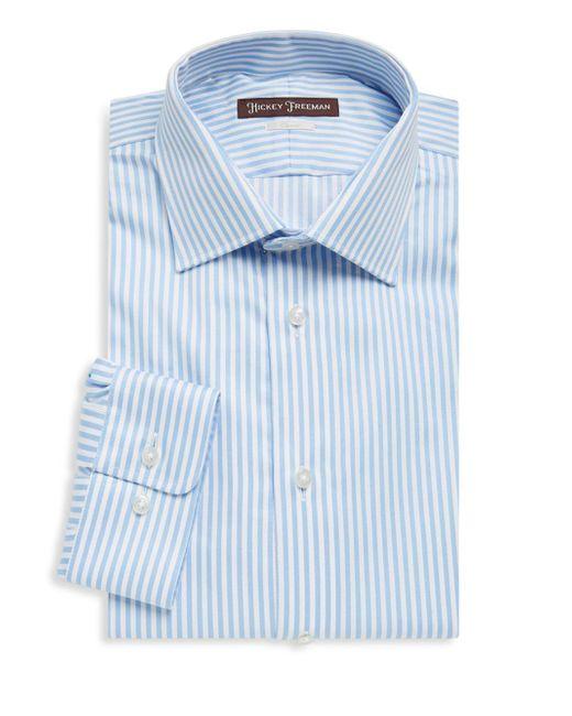 Hickey Freeman | Blue Bengal Stripe Cotton Dress Shirt for Men | Lyst