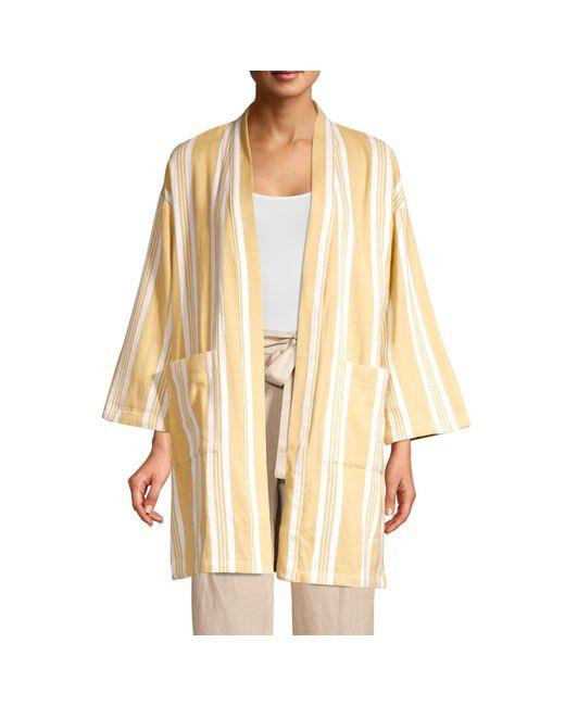 Eileen Fisher Natural Striped Organic Cotton Kimono Jacket