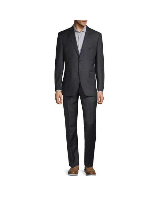 Saks Fifth Avenue Gray Classic Fit 2-piece Tonal Plaid Wool Suit for men