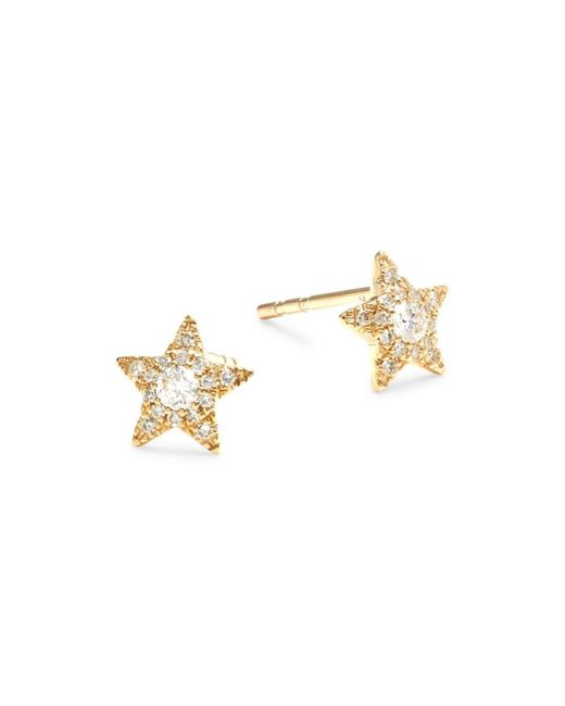 Saks Fifth Avenue Metallic Women's 14k Yellow Gold & 0.2 Tcw Diamond Star Stud Earrings