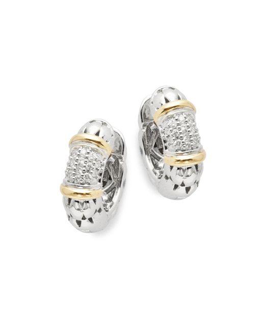 """Effy - Metallic Diamond, 18k Yellow Gold, Silver Hoop Earrings- 0.7"""" - Lyst"""