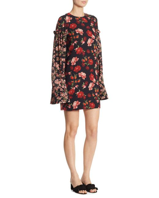 Mother Of Pearl - Black Francis Floral Silk Dress - Lyst