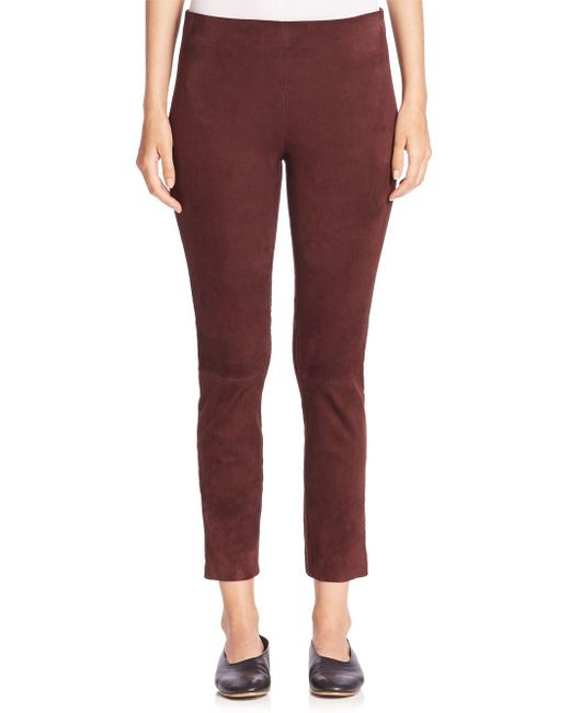 Vince - Red Suede Cropped Leggings - Lyst