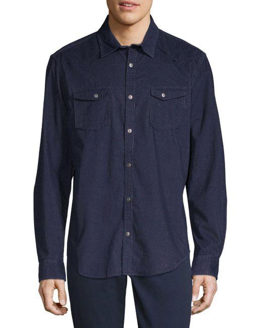 Calvin Klein - Blue Long-sleeve Denim Button-down Shirt for Men - Lyst