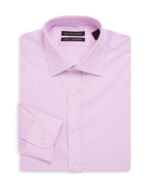 Saks Fifth Avenue - Pink Diamond Textured Cotton Dress Shirt for Men - Lyst