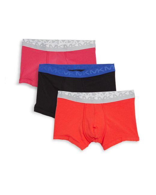 Michael Kors - Red Three-pack Logo Stretch Trunks for Men - Lyst