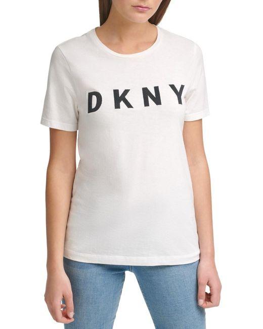 DKNY Women's Foundation Stitched Logo T-shirt - White Black - Size L