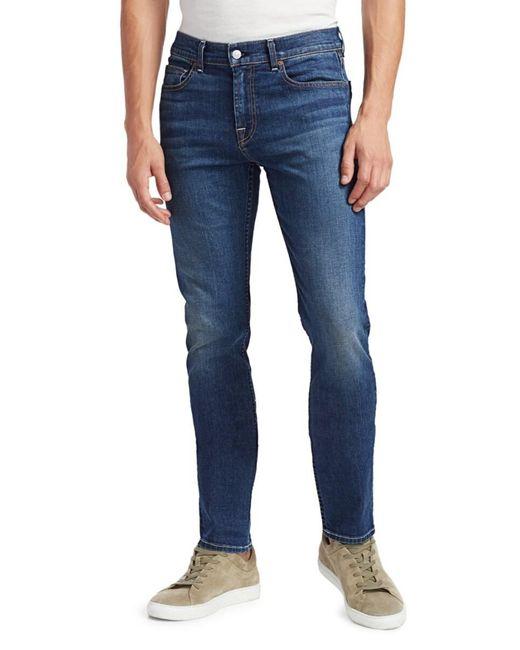 7 For All Mankind Blue Men's Slimmy Clean Pocket Jeans - Dark - Size 28 for men