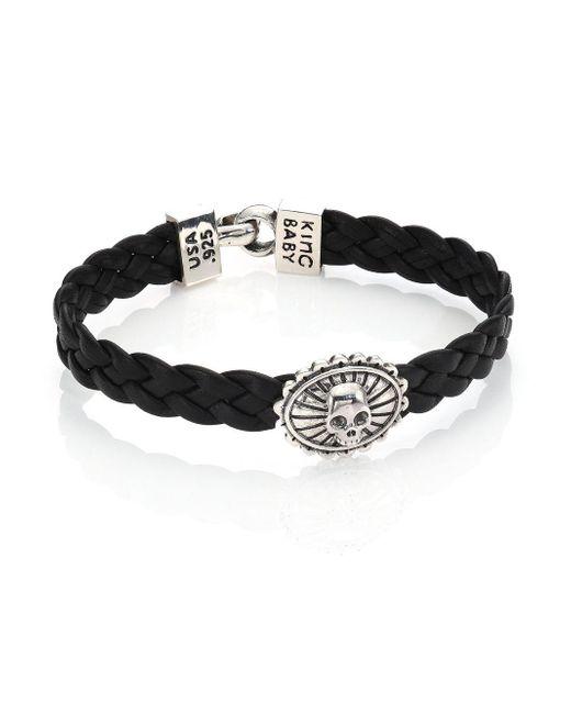 King Baby Studio - Black Braided Leather Concho Bracelet for Men - Lyst