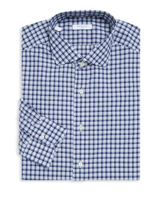 Boglioli - Blue Slim-fit Plaid Cotton Dress Shirt for Men - Lyst