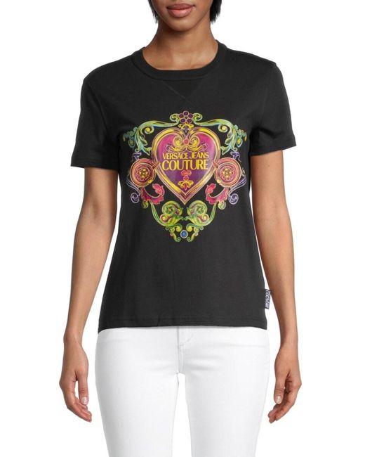 Versace Jeans Women's Baroque Heart Logo T-shirt - Black - Size Xs