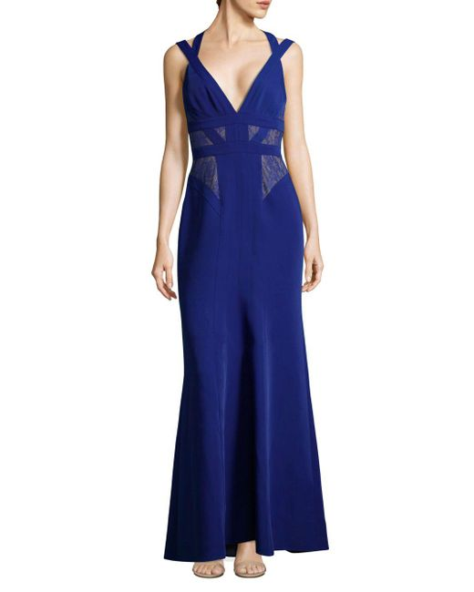 BCBGMAXAZRIA - Blue Sleeveless Lace Gown - Lyst