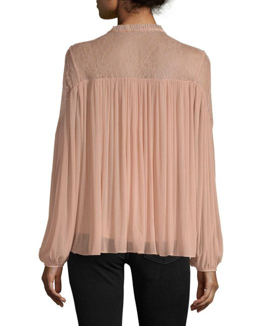 0dea886bbb0416 French Connection Lassia Lace Blouse in Pink - Save 22% - Lyst