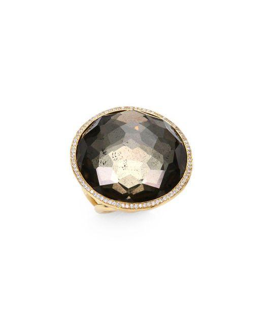 Ippolita - Metallic Pyrite Doublet, Diamond & 18k Rose Gold Cocktail Ring - Lyst
