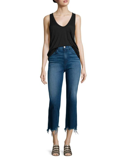 3x1   Blue Shelter Distressed Cropped Wide-leg Jeans   Lyst