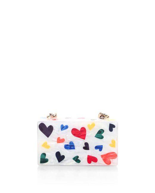 Edie Parker White Mini Hearts Clutch