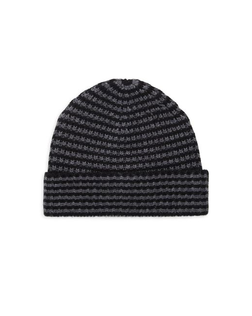 Saks Fifth Avenue Black Two-tone Knit Beanie for men