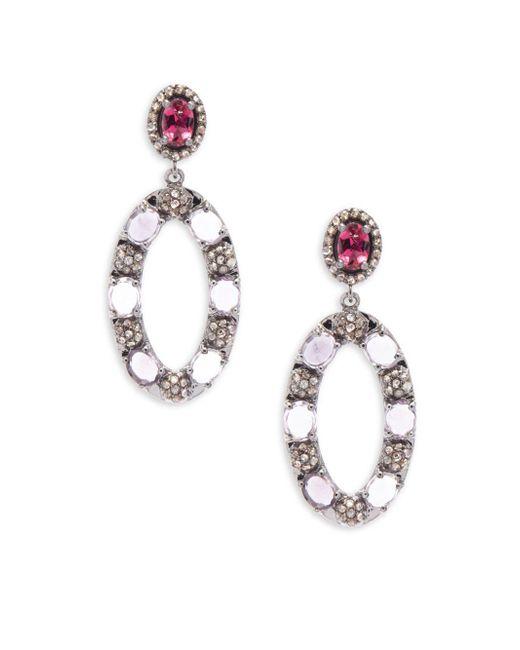 Bavna   Metallic Diamond Tourmaline & Sterling Silver Earrings   Lyst