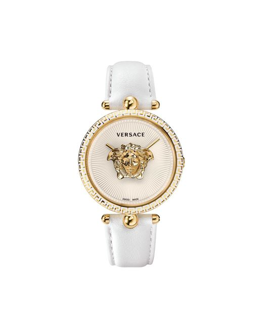 Versace Metallic Palazzo Empire White And Pvd Plated Gold Unisex Watch W/3d Medusa