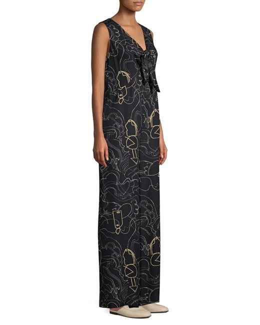 Lafayette 148 New York Women's Adelphi Graphic V-neck Jumpsuit - Black Multi - Size L