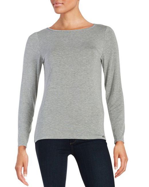 CALVIN KLEIN 205W39NYC - Gray Liquid Jersey Long Sleeved Top - Lyst