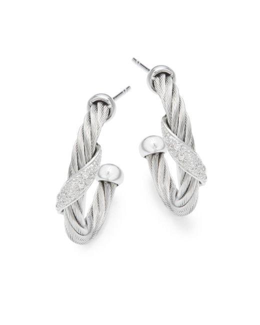 Alor - Metallic 18k White Gold & Stainless Steel Diamond Hoop Earrings - Lyst