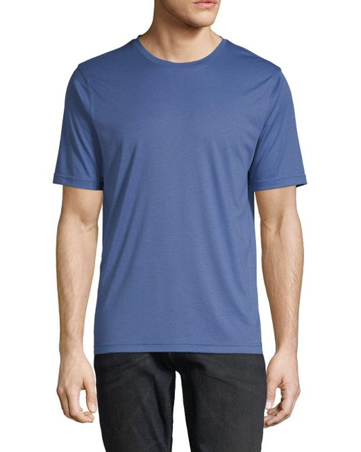 Saks Fifth Avenue - Blue Crewneck Cotton Tee for Men - Lyst
