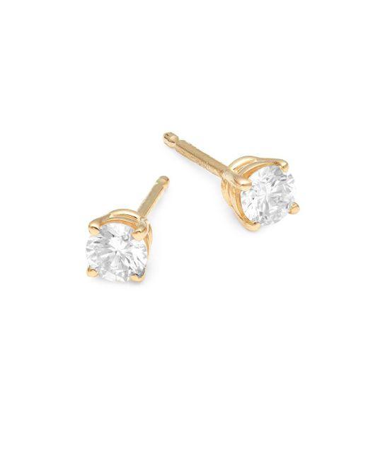 Nephora - Metallic 18k Gold Diamond Stud Earrings - Lyst