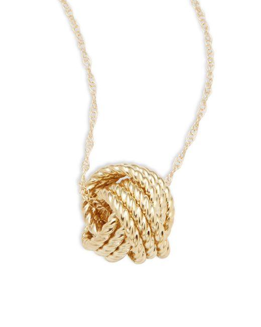 Saks Fifth Avenue - Metallic Love Knot 14k Yellow Gold Pendant Necklace - Lyst