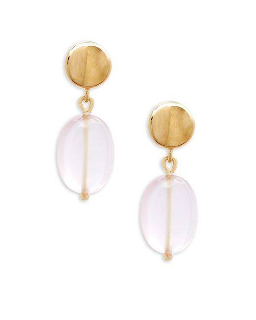 Saks Fifth Avenue - Metallic Yellow Gold & Rose Quartz Drop Earrings - Lyst