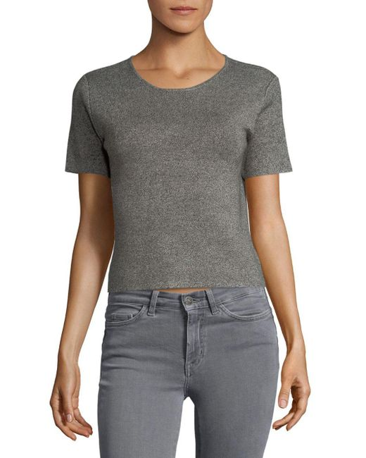 Saks Fifth Avenue - Gray Cropped Tee - Lyst