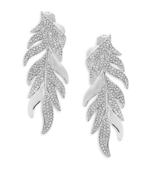 Adriana Orsini - Metallic Mday Pavé Leaf Earrings - Lyst