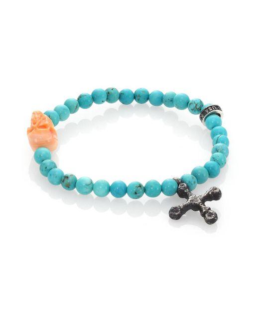 King Baby Studio - Blue Turquoise Bead & Conch Shell Skull Bracelet - Lyst