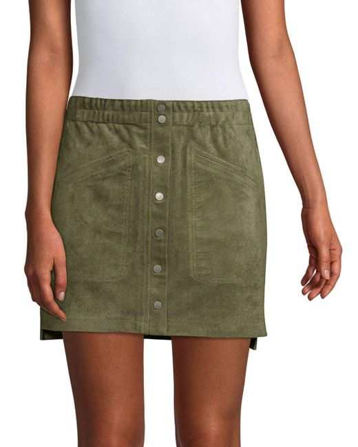 BCBGMAXAZRIA Green Snap-button Mini Skirt