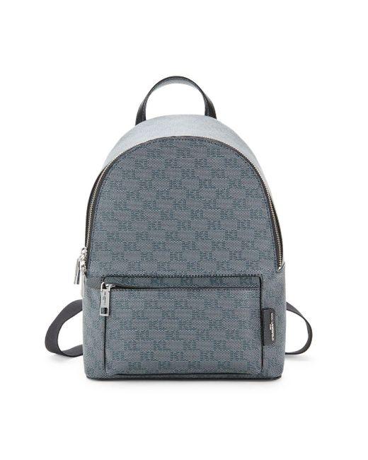 Karl Lagerfeld Gray Logo Print Backpack