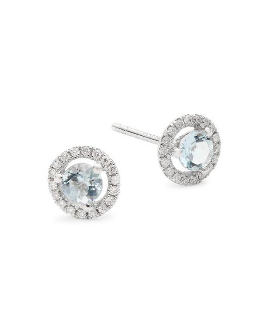 Saks Fifth Avenue Metallic Women's 14k White Gold, Aquamarine & Diamond Stud Earrings