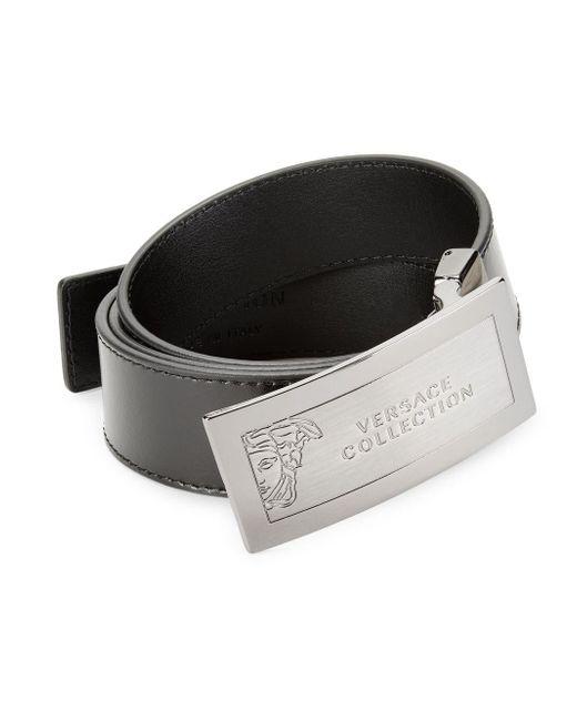 Versace Black Hardware Leather Belt for men
