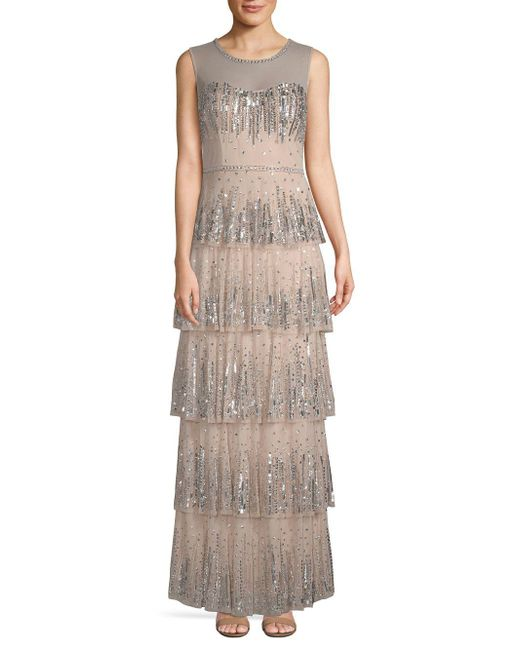 Aidan Mattox - Multicolor Embellished Tiered Gown - Lyst