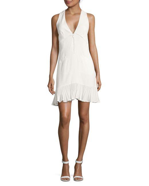 Nicole Miller Artelier - White Solid V-neck Dress - Lyst