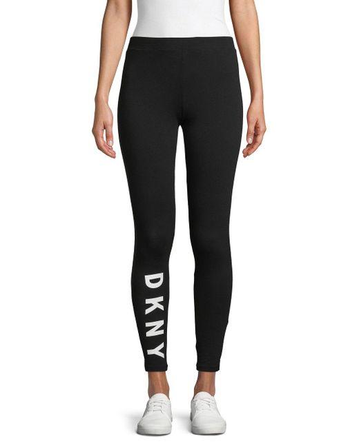 DKNY Black Logo Cotton Blend Leggings