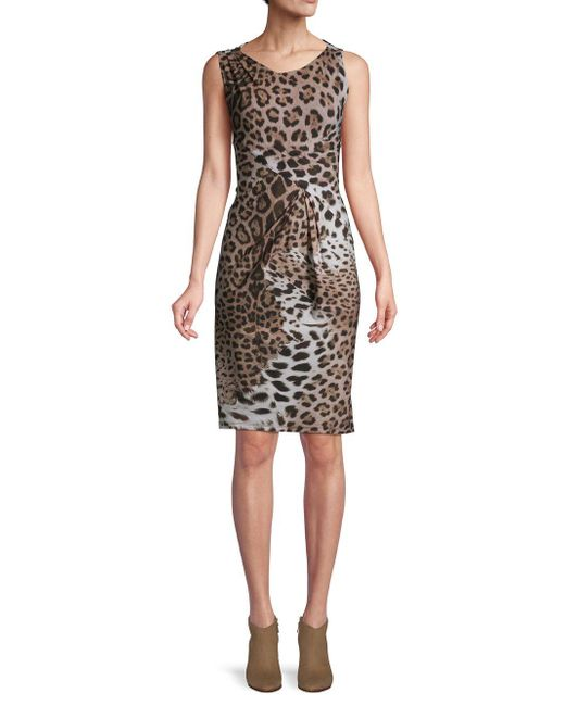 Roberto Cavalli Natural Leopard-print Sleeveless Sheath Dress