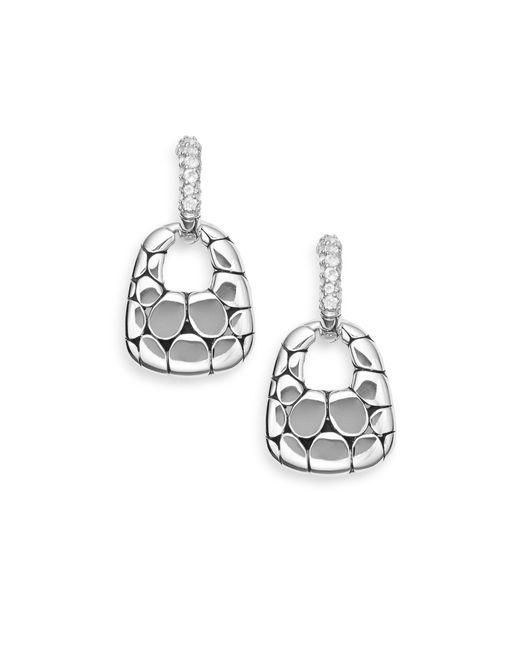 John Hardy Metallic White Topaz & Sterling Silver Doorknocker Hoop Drop Earrings