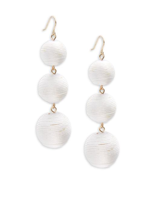 Gemma Simone | White Multicolor Triple Drop Pom-pom Earrings | Lyst