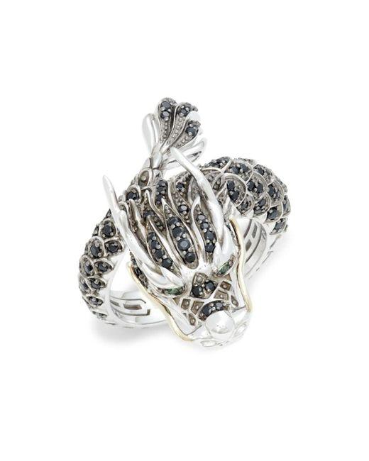 Effy Sterling Silver, 14k Yellow Gold, Black Spinel & Tsavorite Dragon Ring