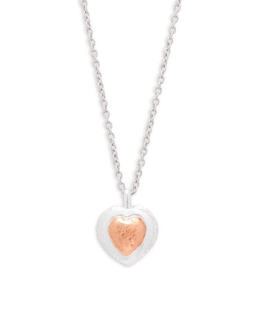 Gurhan - Metallic Romance Sterling Silver & Rose-goldtone Large Heart Pendant Necklace - Lyst